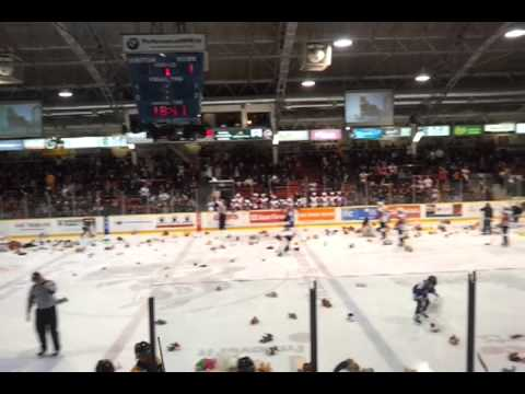 Niagara IceDogs teddy bear toss, Dec.10, 2012